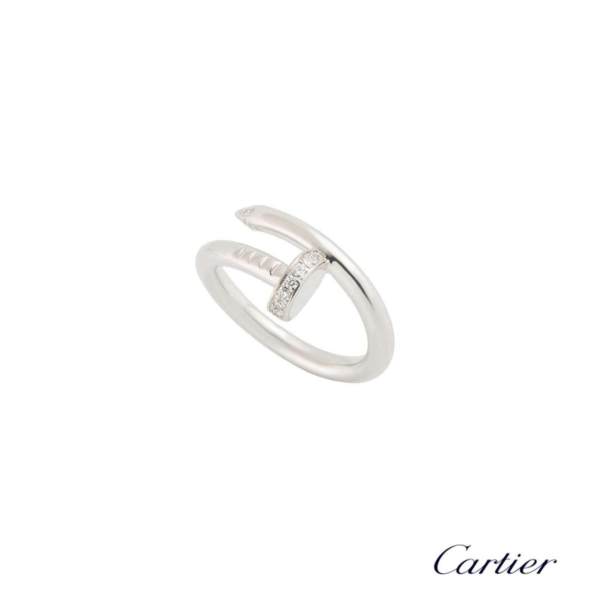 Cartier White Gold Diamond Juste Un Clou Ring Size 53 B4092753